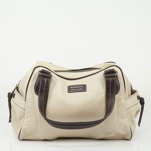 Auth Burberry Canvas Handbag Leather #1197O42